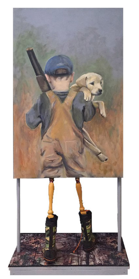 Boy Hunting with Dog Painting