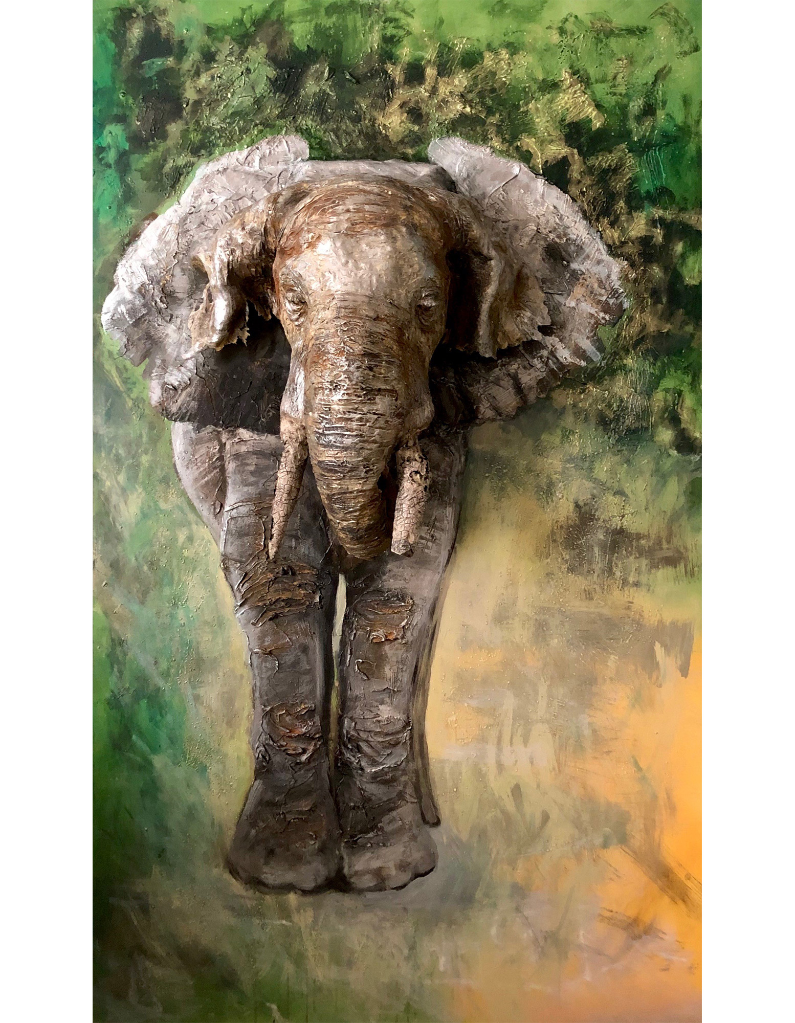 Elephant Sculpture Painting