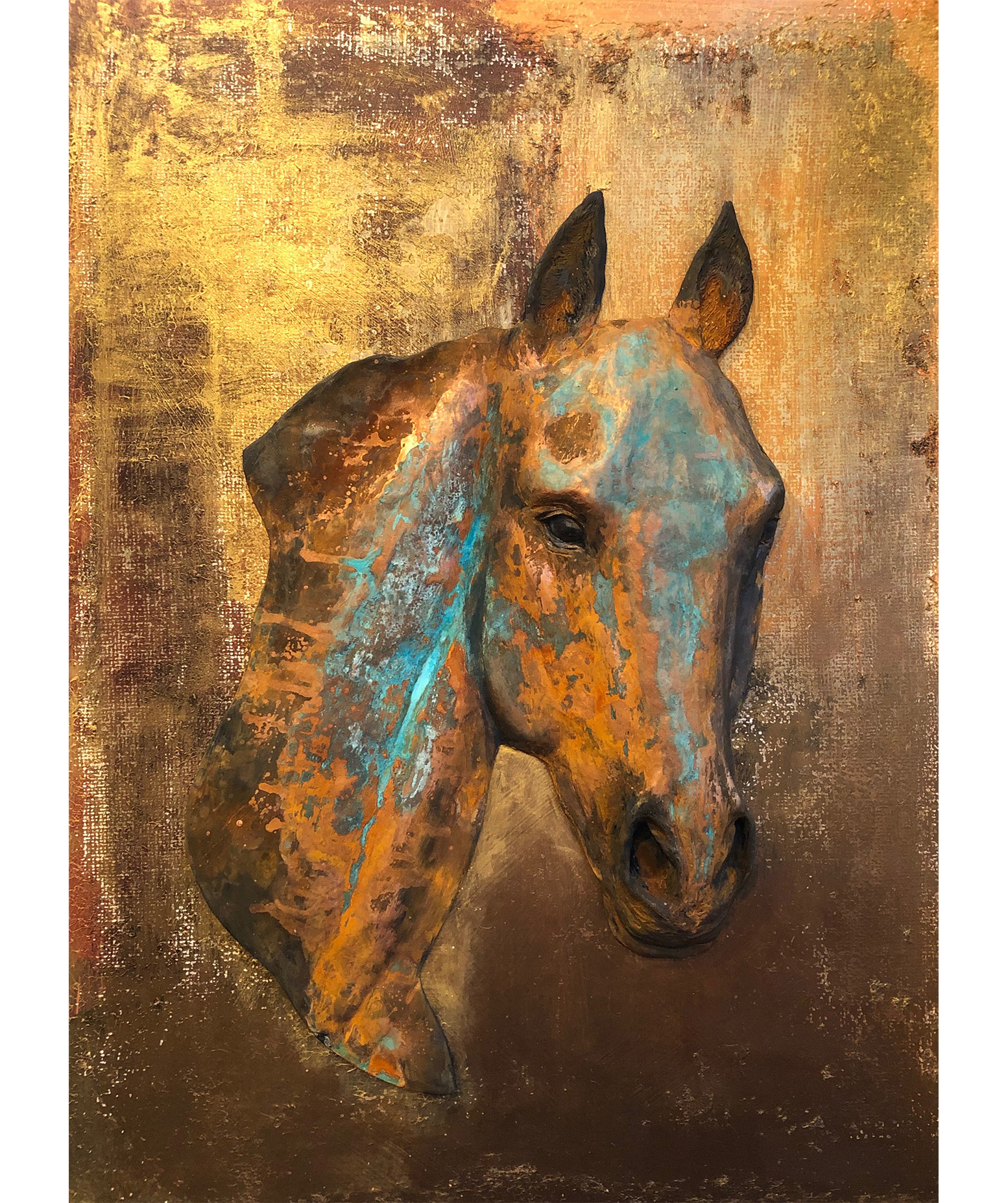 Rustic Equine Sculpture Painting