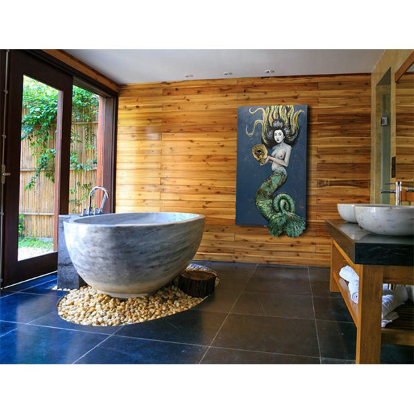Asian Mermaid Sculpture Painting in Bathroom