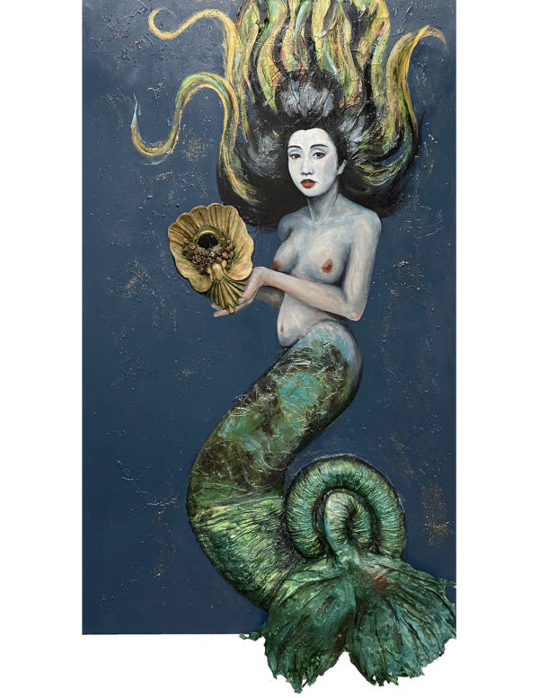 Asian Mermaid Sculpture Painting
