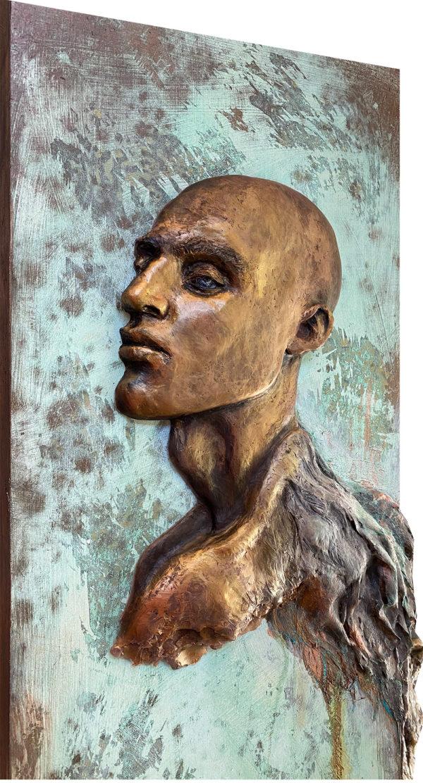 Close up of Icarus, sculptural portrait